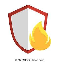 cor, chama, silueta, emblema, escudo