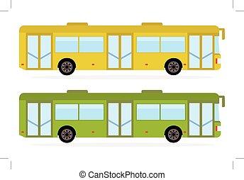 cor, cidade, verde, amarela, autocarro