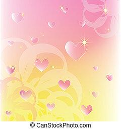 cor, cintilante, fundo, corações, flores, macio