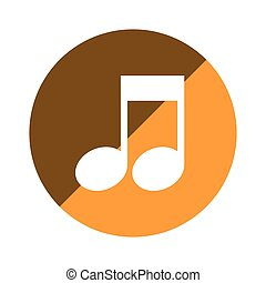 cor, circular, emblema, com, nota musical