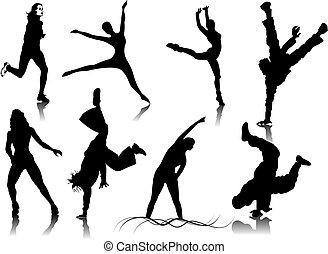 cor, clique, mulheres, silhouettes., um, mudança, vetorial, condicão física