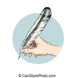 cor completamente, femininas, escrita, mão, pena