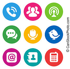 cor, comunicação, ícones