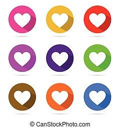 cor, coração, círculo, jogo, ilustração