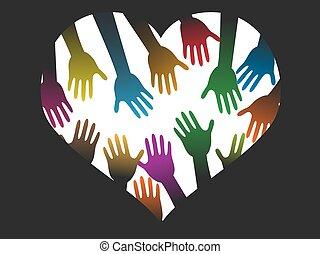 cor, coração, diversidade, mãos