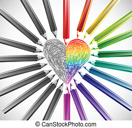 cor, coração, vetorial, pencils., ilustração