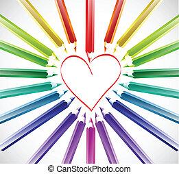 cor, coração, vetorial, pencils.