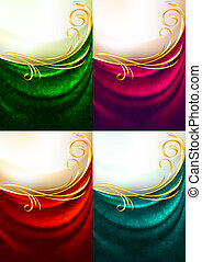 cor, cortina, jogo, tecido