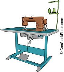 cor, cosendo, ilustração, máquina, vetorial, ou