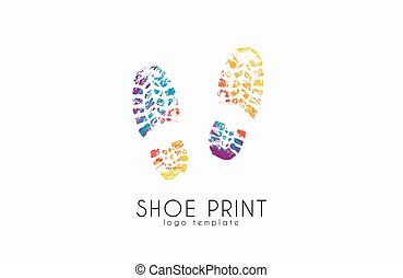 cor, criativo, impressão sapato, logo., print.
