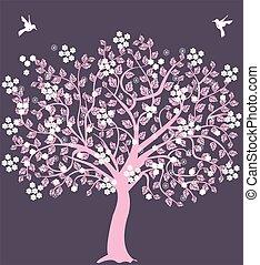 cor-de-rosa, árvore, com, flores, e, pássaros