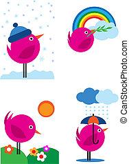 cor-de-rosa, ícones, -, quatro, 3, estações, pássaros