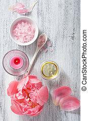 cor-de-rosa, óleo, peony, aromatherapy, flor, spa, sal, essencial