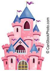 cor-de-rosa, 1, castelo, tema, imagem