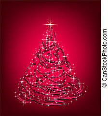 cor-de-rosa, abstratos, árvore., natal, vetorial