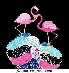cor-de-rosa, abstratos, flamingos, fundo