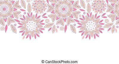 cor-de-rosa, abstratos, flores, horizontais, seamless, padrão, fundo