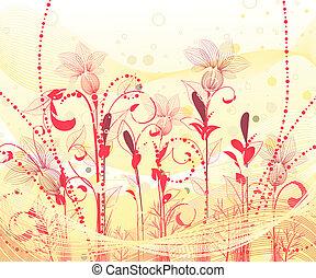 cor-de-rosa, abstratos, flores
