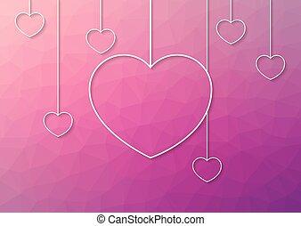 cor-de-rosa, abstratos, modernos, enforcar, fundo, corações,...