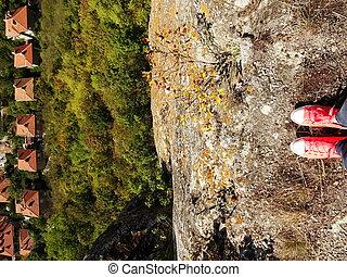 cor-de-rosa, acima, provadia, sneakers, femininas, cityscape, bulgária