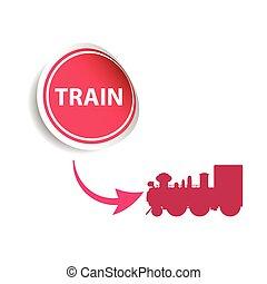 cor-de-rosa, adesivo, trem, vetorial
