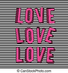 cor-de-rosa, amor, texto, ilustração, sinal, vetorial, elegante, 3d