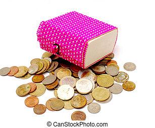 cor-de-rosa, ane, antigas, presente, madeira, moedas, caixa, novo, branca