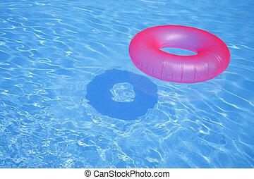 cor-de-rosa, anel inflável