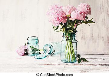 cor-de-rosa, antigüidade, farnhouse, jarro, pedreiro, peonies