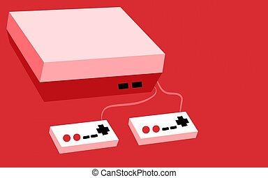 cor-de-rosa, antigüidade, volumetric, antigas, vindima, dois, ilustração, retangular, botões, experiência., jogo, vetorial, hipster, retro, alegrias, console