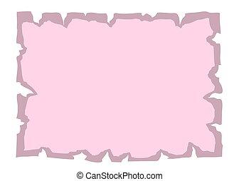 cor-de-rosa, antigas, papel, bandeira, pergaminho, vazio