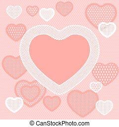 cor-de-rosa, antigas, renda, fundo, corações, cartão
