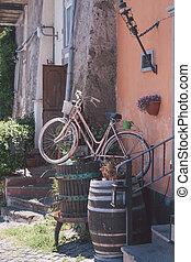 cor-de-rosa, antigas, ruas, bicicleta, roma