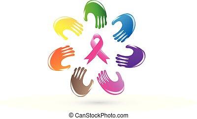 cor-de-rosa, ao redor, vetorial, mãos, logotipo, fita