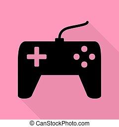 cor-de-rosa, apartamento, estilo, simples, sinal., experiência., pretas, caminho, joystick, sombra, ícone