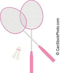 cor-de-rosa, apartamento, jogo, badminton, equipamento, vetorial