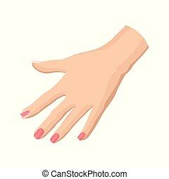 cor-de-rosa, apartamento, mulher, manicure., beleza, clube, cartaz, fingernails., s, mão, luminoso, vetorial, voador, fresco, spa, elemento, ou, ícone