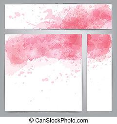 cor-de-rosa, aquarela, abstratos, banners.