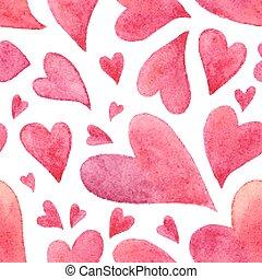 cor-de-rosa, aquarela, pintado, corações, seamless, padrão