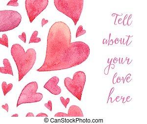 cor-de-rosa, aquarela, pintado, corações, verticalmente,...