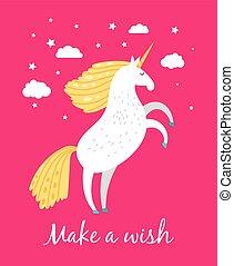 cor-de-rosa, arte, fairytale, meninas, ilustração, impressão mão, assalte, vetorial, unicorn., unicórnio, bebê, desenhado, original, roupas