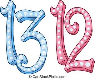 cor-de-rosa, azul, 13, 12, tranque mitzvah, morcego, número...