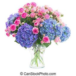 cor-de-rosa, azul, buquet, hortensia, rosas, flores frescas