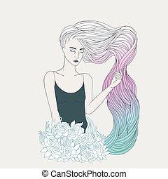 cor-de-rosa, azul, cabelo longo, ondulado, menina