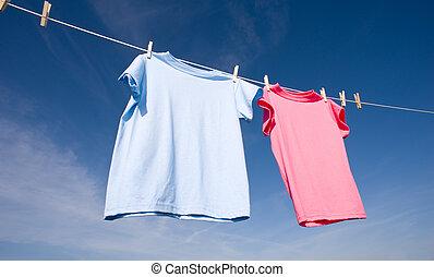 cor-de-rosa, azul, camisetas