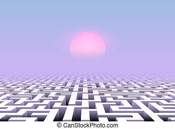 cor-de-rosa, azul, labirinto, panorâmico, sobre, céu, onda, abaixo, denominado, labirinto, sol, vapor, pálido, paisagem