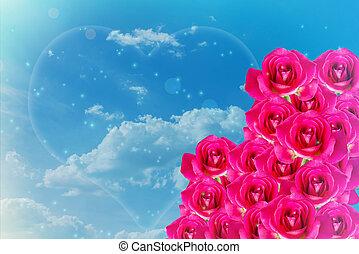 cor-de-rosa, azul, romanticos, rosa, céu, valentine, fundo, luz, grupo
