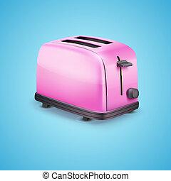 cor-de-rosa, azul, toaster., luminoso, vetorial, fundo