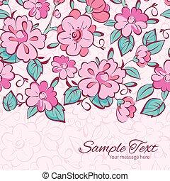 cor-de-rosa, azul, vetorial, quimono, modelo, horizontais, flores, borda, cartão