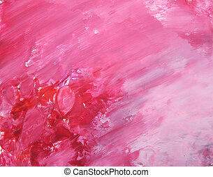 cor-de-rosa, background:, pintura, abstratos, mão, padrões, floral, desenhado, vermelho